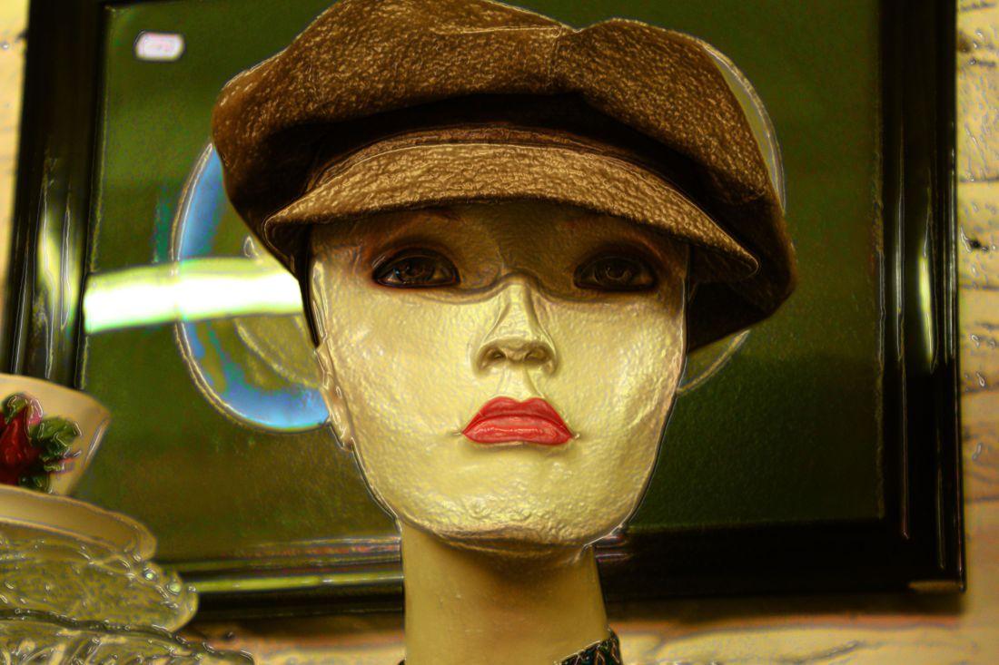 plastic, doll, object, fashion, portrait, hat