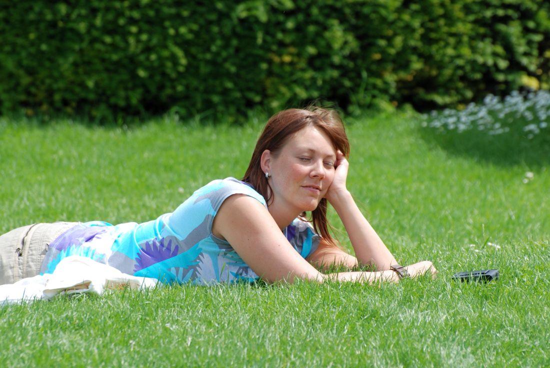 atraktivní, pěkný, tvář, tráva, léto, trávník, příroda, hezká holka, portrét, léto
