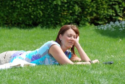 attraente, bello, viso, erba, estate, Prato, natura, bella ragazza, ritratto, estate
