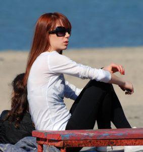 слънчеви очила, прическа, жена, мода, момиче, хора, лято, плаж