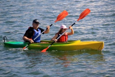 kayak, canoa, acqua, barca, paddle, all'aperto, sportive, persone, estate