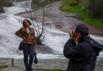 people, posing, waterfall, nature, photographer, landscape, photo camera