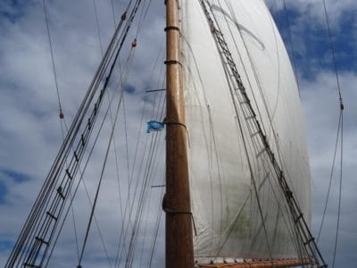 sailboat, sky, sail, mast, yacht, rope, ship, water
