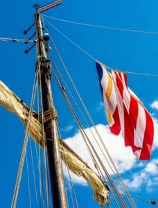 wind, mast, flag, sky, rope, mast, blue sky, outdoor