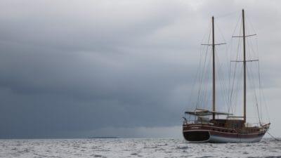 segelbåt, vatten, vattenskotrar, havet, segel, båt, ocean, dimma