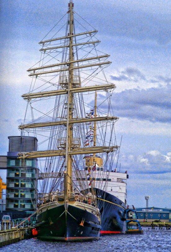l'embarcation, navire, bateau, eau, voile, navire cargo, ciel bleu, mât