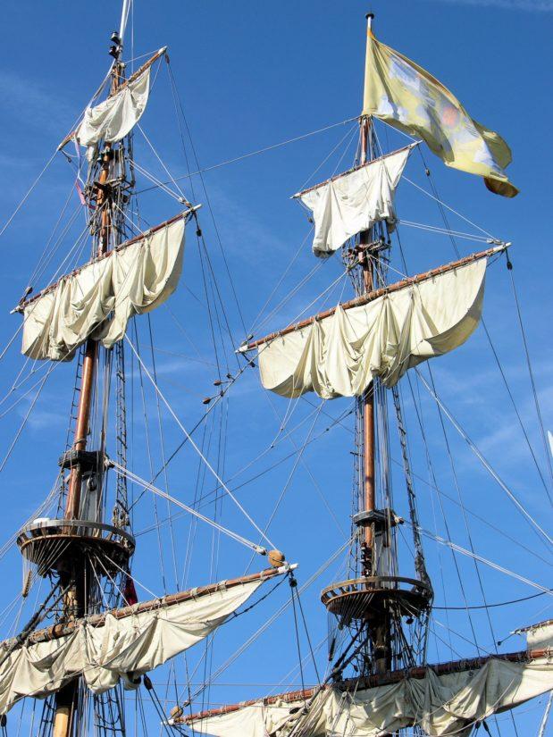 платноходка, платно, мачта, кораб, плавателен съд, синьо небе, корабоплаването, яхта