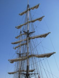 blue sky, sailboat, sail, watercraft, ship, mast, boat, navy, yacht