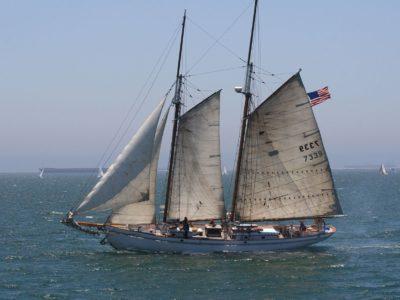 Парусная лодка, водный транспорт, паруса, корабль, вода, океан, море