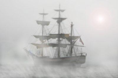 Гидроцикл, корабль, туман, парусник, парус, лодки, море, океан, вода
