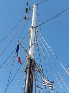 mast, sky, mast, wire, electricity, blue sky, flag