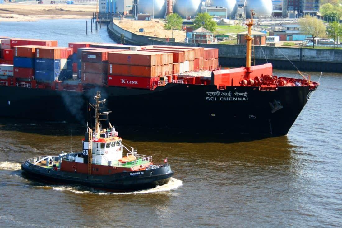 remolcador, buque de carga, motos acuáticas, agua, nave, industria, puerto, envío