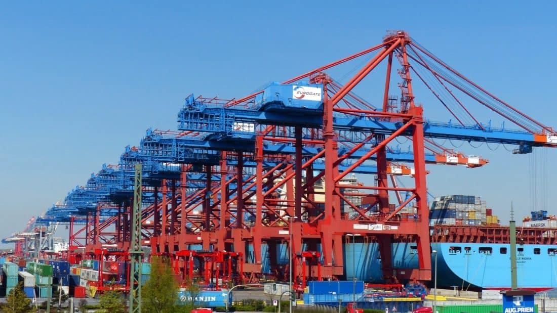 industria, barco de carga, grúas, cielo, puerto, embarcación, nave, comercio