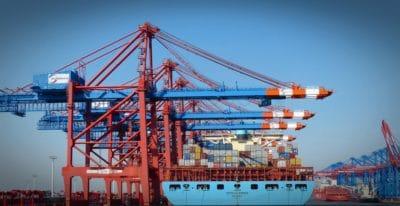Industrie, Kran, Himmel, Stahl, Schiff, Industrie-, Frachtschiff, Bau