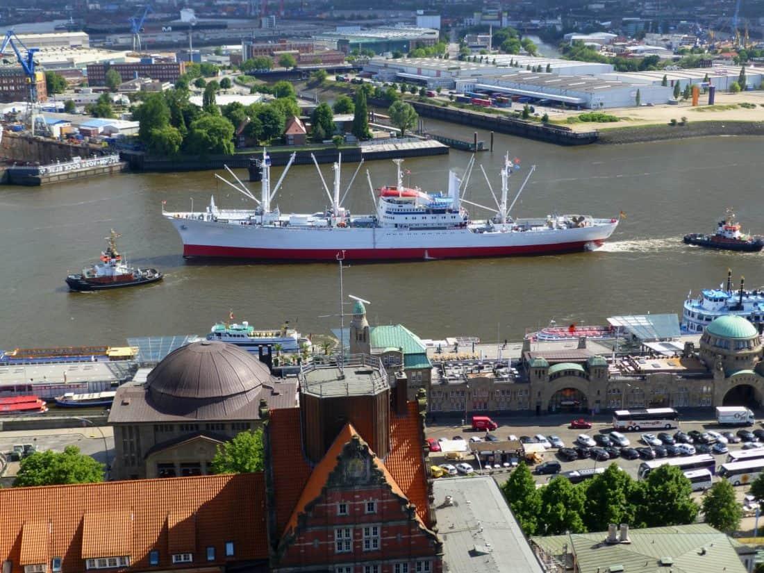 товарен кораб, град, градски, плавателни съдове, превозно средство, кораба, пристанището, града, вода, влекач
