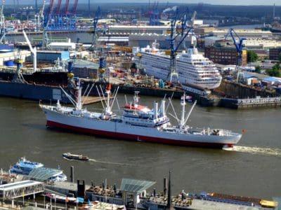buque de carga, urbano, embarcación, nave, puerto, agua, mar, ciudad, barco, muelle