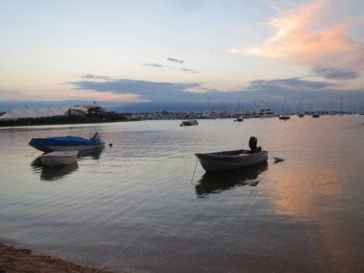 coucher du soleil, l'eau, motomarine, bateau, lac, mer, réflexion, rive