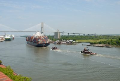 cargo ship, bridge, water, watercraft, vehicle, river, sea, tugboat, boat