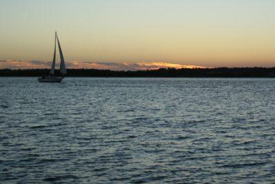 wody, zachód słońca, krajobraz, jednostek pływających, żaglówka, morze, Świt, statek