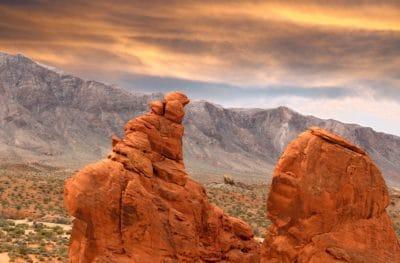 poušť, krajina, západ slunce, údolí, geologie, pískovec, eroze, kaňon, cliff, obloha