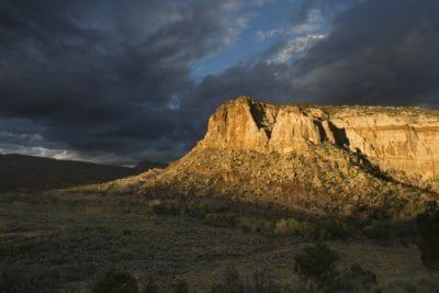 paysage, désert, nuage, sombre, montagne, ciel, coucher de soleil, knoll, canyon