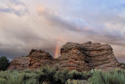 paysage, ciel, désert, coucher de soleil, nuage, canyon, montagne, arc-en-ciel
