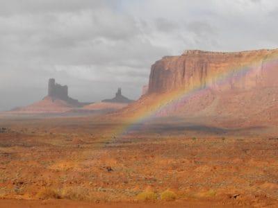 arc en ciel, désert, paysage, coucher de soleil, sable, canyon, falaise, Pierre