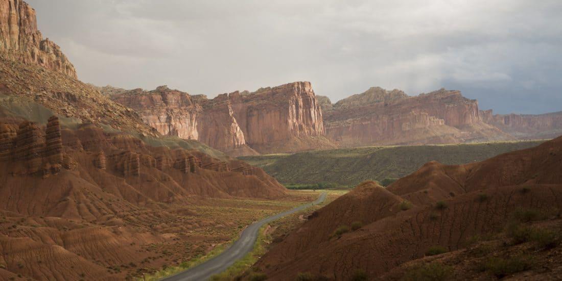 krajina, hory, mrak, údolí, poušť, canyon, cliff, obloha