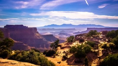 landscape, desert, cloud, blue sky, nature, mountain, sunset, canyon