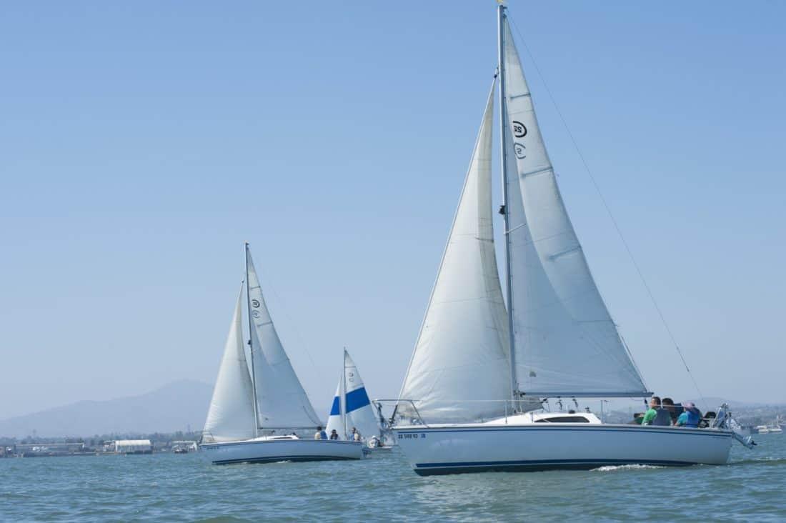 sailboat, watercraft, sailing, blue sky, yacht, sail, water, sea, ship