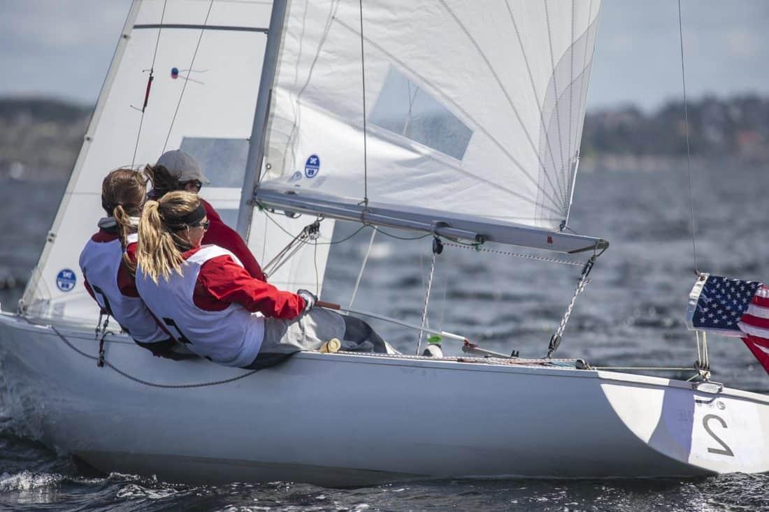 seilbåt, seil, yacht, flagg, mast, folk, watercraft, rase, regatta, mannskap