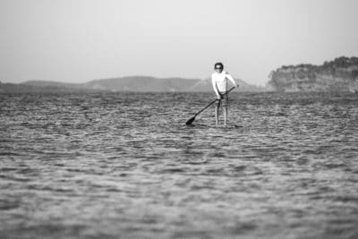 people, water, oar, paddle, man, ocean, sea, beach, monochrome