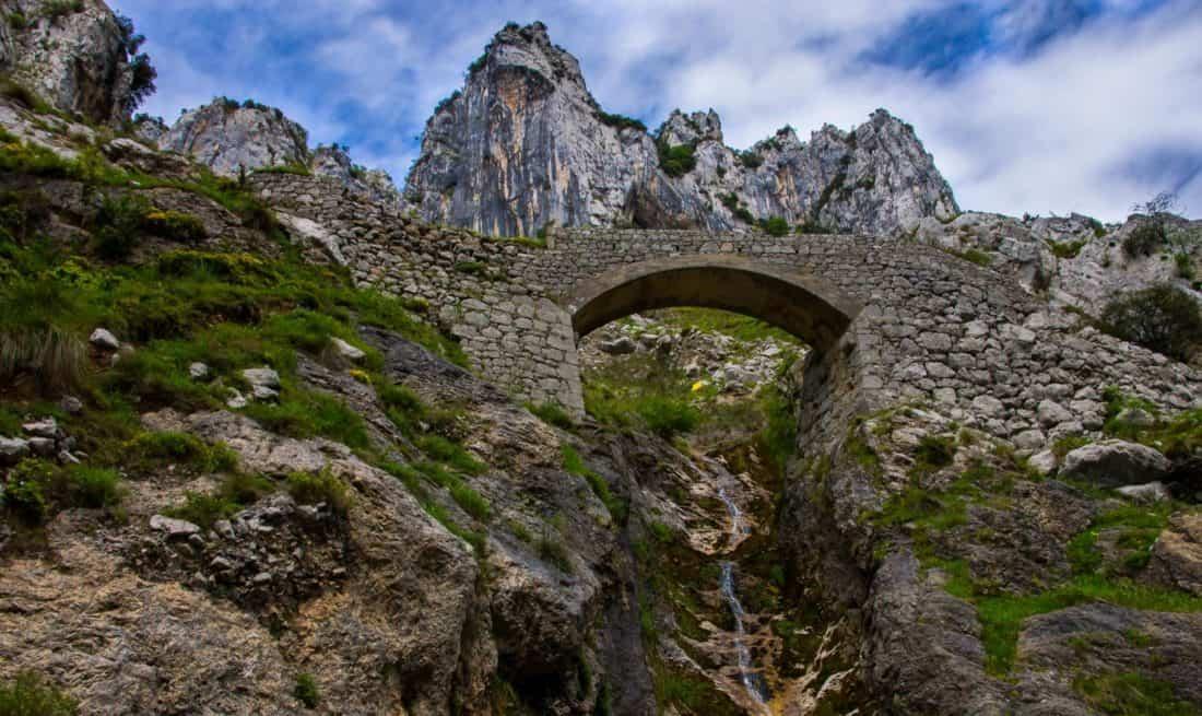 mountain, bridge, old, landscape, sky, nature, stone, tree, outdoor
