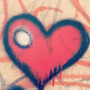 graffiti, srdce, papír, výtvarné, umění, láska, textury