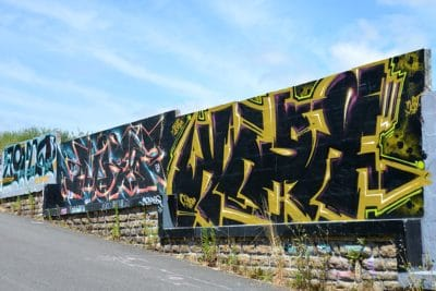 graffiti, street, sky, text, street, urban, outdoor