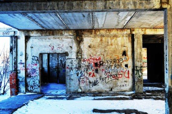 aufgegeben, Graffiti, Kunst, Architektur, urban, Verfall, verfallene, Zersetzung