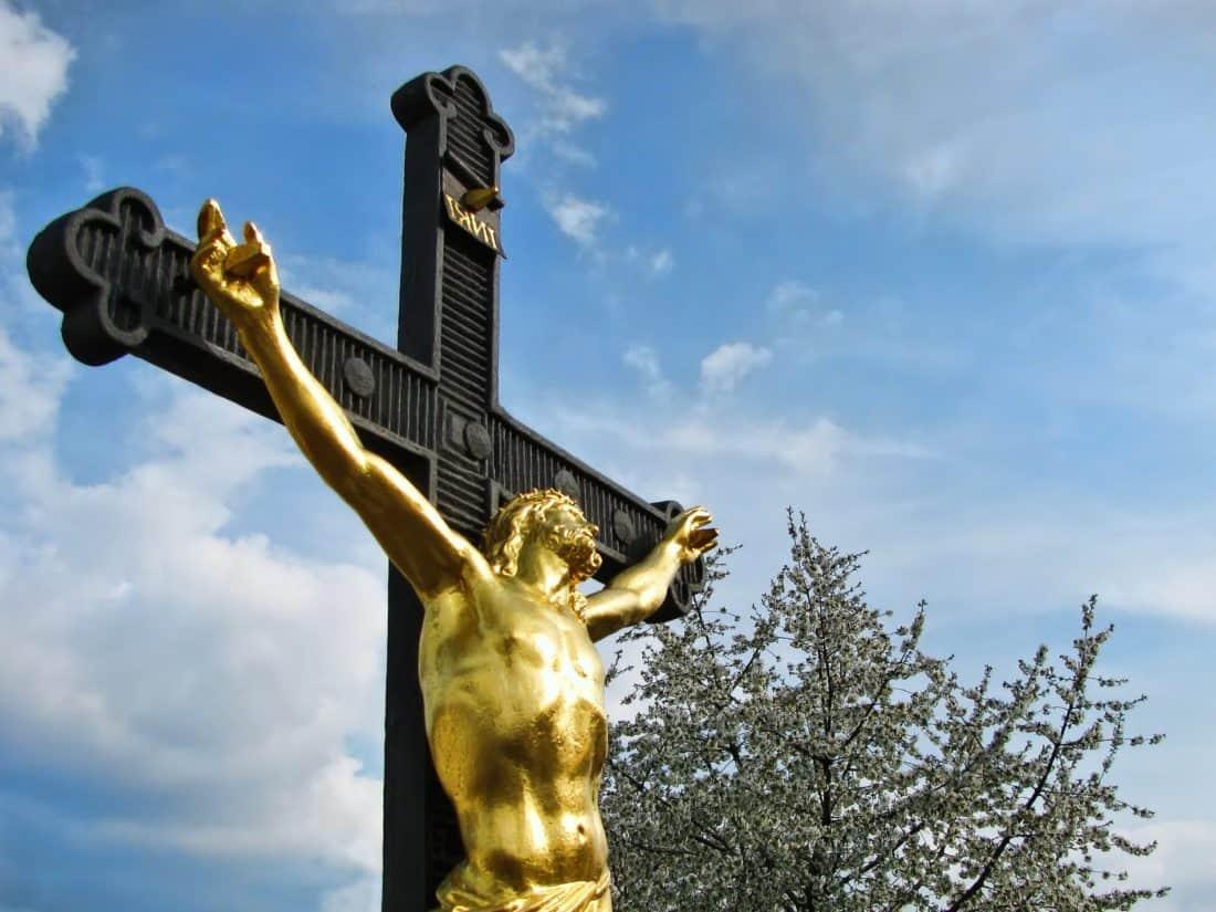 blue sky, bronze, Christ, religion, Heaven, sculpture, statue, outdoor