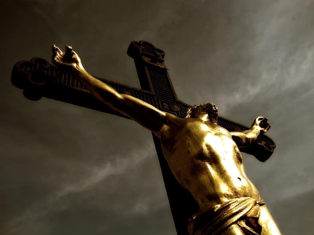 art, bronze, sculpture, statue, religion, people, Christ, cross