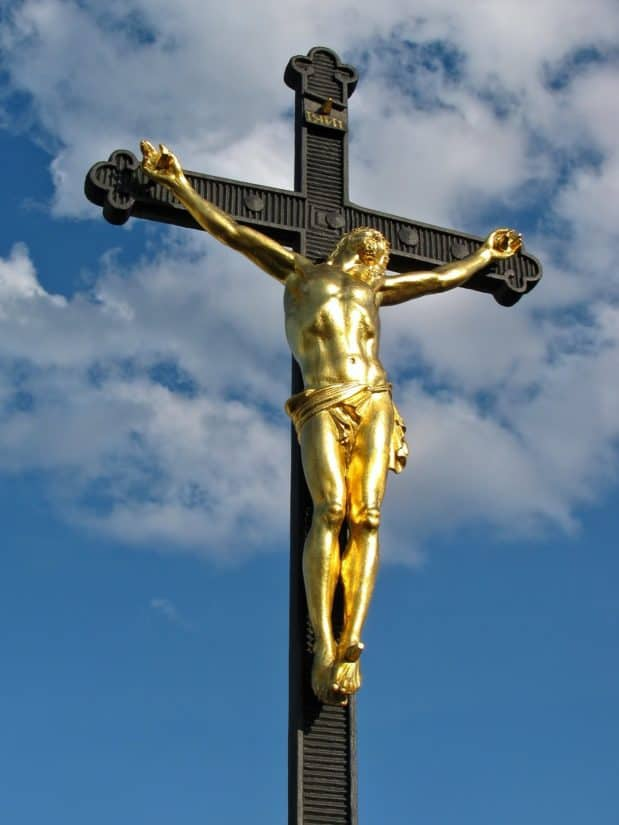 nebo, skulptura, križ, Krist, religija, kip, struktura, postolje