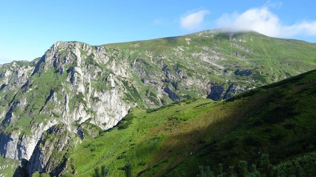 mountain, glacier, landscape, blue sky, nature, outdoor, grass, hill