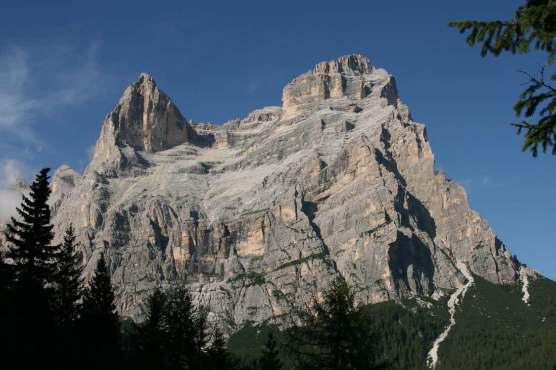 mountain, landscape, blue sky, outdoor, mountain peak, geology, tree, nature