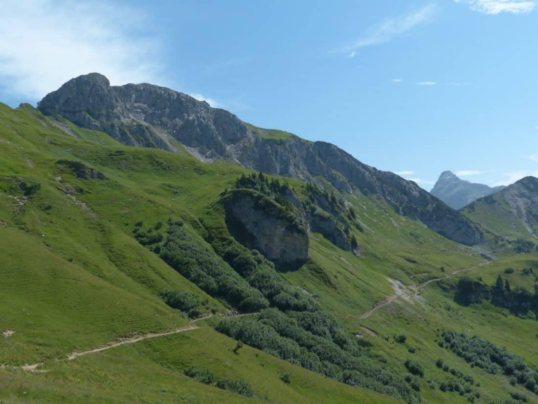 mountain, pasture, grass, landscape, nature, valley, sky, grass, summer