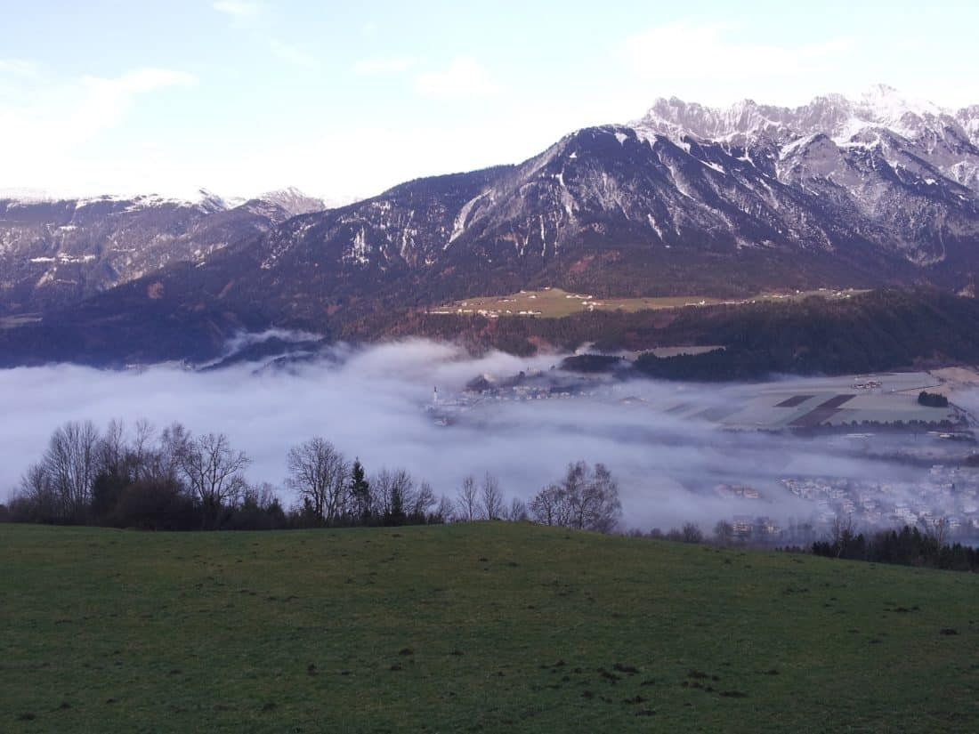 mist, pasture, landscape, mountain, water, fog, daylight, snow, sky