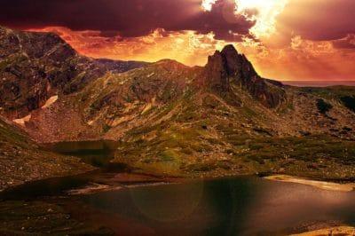 montagna, lago, sole, tramonto, paesaggio, Parco nazionale, cielo, natura, Valle
