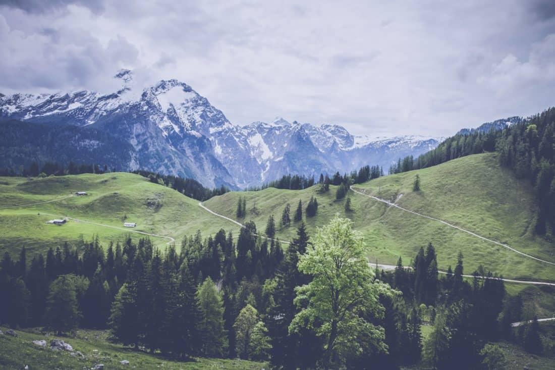 planine, krajolik, ledenjaka, šuma, dolina, brdo, snijeg, nebo, ledenjak