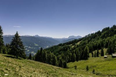 Gunung, alam, pemandangan, pohon, kayu, langit biru, valley