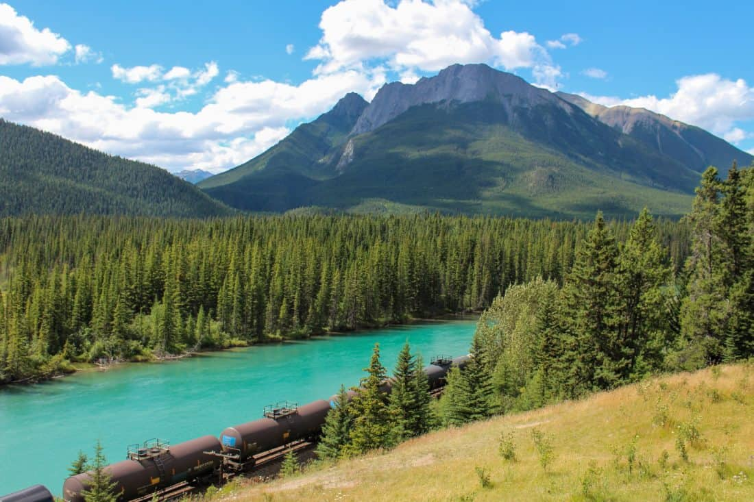 lake, mountain, water, wood, nature, train, natural park, landscape