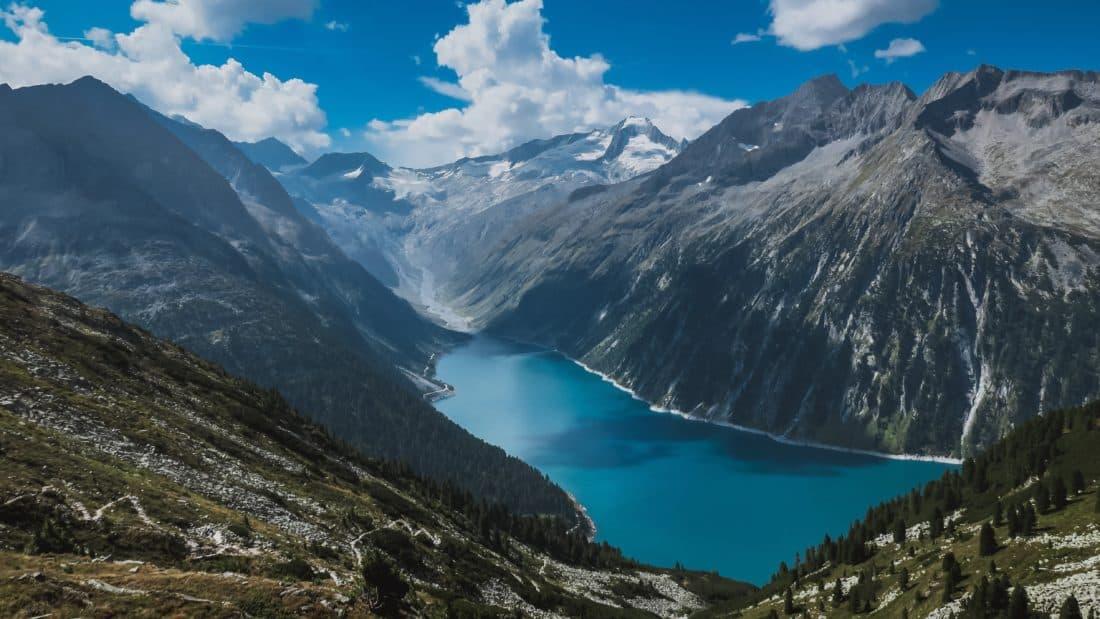 mountain, snow, sky, lake, glacier, national park, blue sky, cloud, outdoor, nature