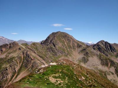 mountain, landscape, grass, blue sky, nature, mountain peak, geology, outdoor