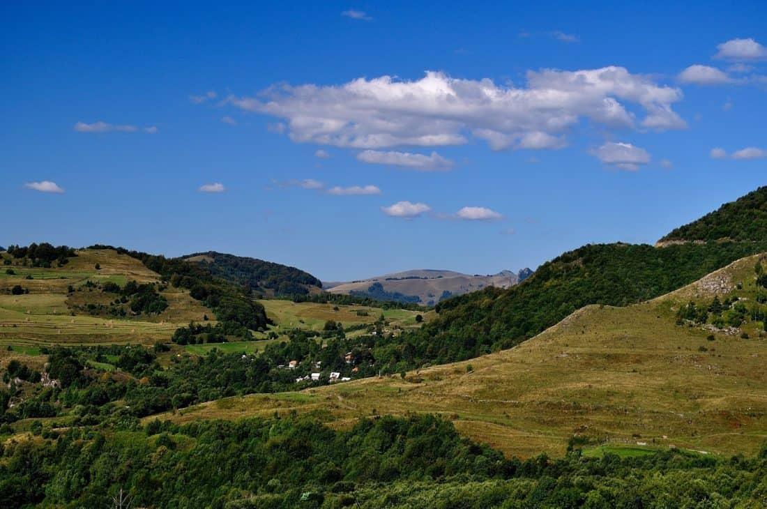 пейзаж, гора, холм, Голубое небо, природа, Открытый, трава, небо